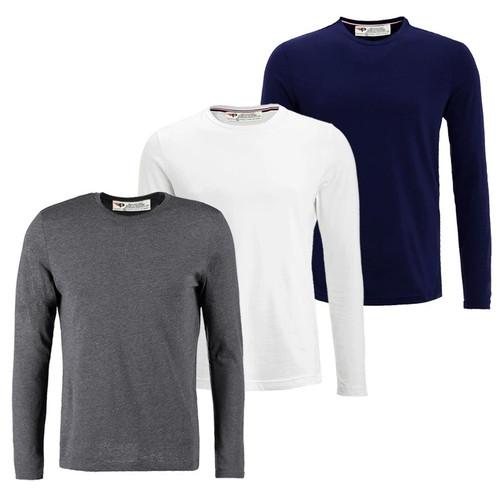 Bộ 3 áo thun nam cổ tròn dài tay ADT01 - 6 ,Trắng, XanhĐen, xámđậm