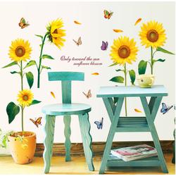 Decal trang trí tường Hoa Hướng Dương và bướm