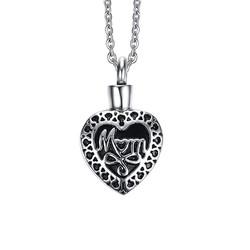 Dây chuyền trái tim khắc chữ Mom vô cực
