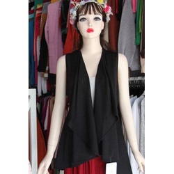 Áo khoác pelpum- form dài- ren pha voan- màu đen