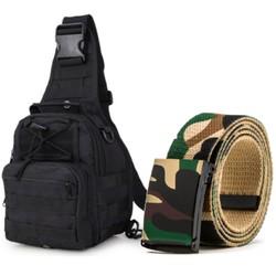 Thắt lưng dù chiến thuật+túi đeo ngực đi phượt TL8128-915