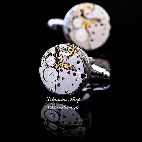 Khuy măng séc kiểu dáng đồng hồ Quartz