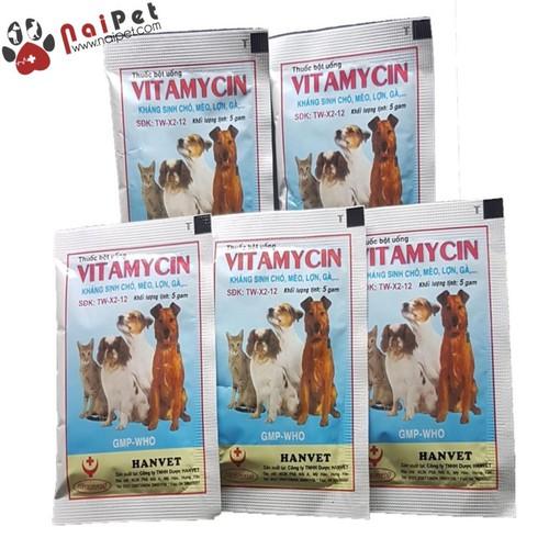 Kháng Sinh Chữa Ỉa Chảy Viêm Phổi Chó Mèo Lợn Gà Vitamincin 2 gói 5g