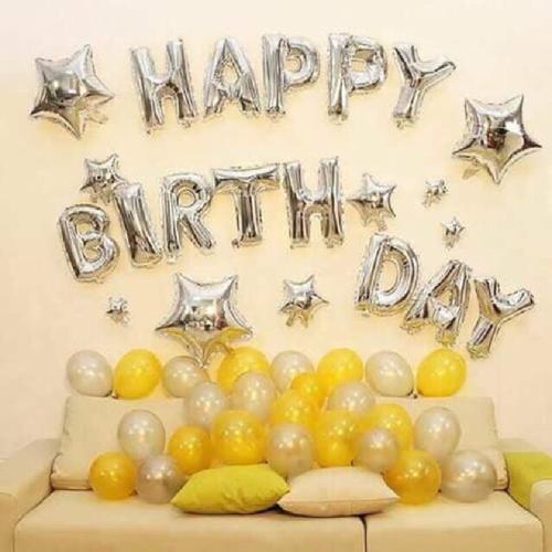 Set trang trí sinh nhật tone vàng bạc - tặng kèm bơm và keo dán