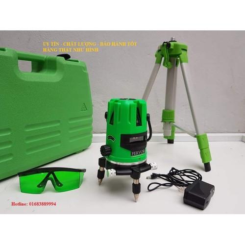 Combo Máy cân mực laser 5 tia xanh Fervor và chân máy