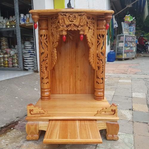 Bàn thờ thần tài ông địa gỗ xoan ngang 56 cm