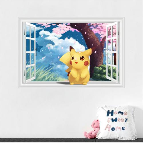Decal trang trí khung cửa sổ 3D Pokemon và cây đào