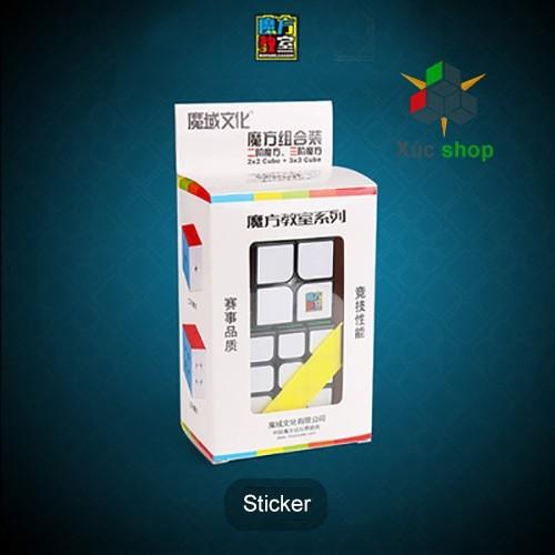 Bộ quà tặng Rubik Mofang Jiaoshi 2 món 2x2 và 3x3 - Viền đen
