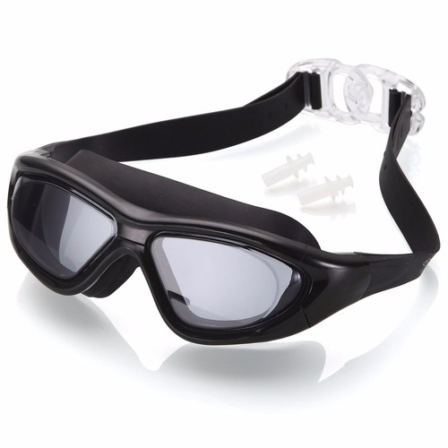 Kính bơi tầm nhìn rộng 180 độ, tráng gương, chống tia UV-Black