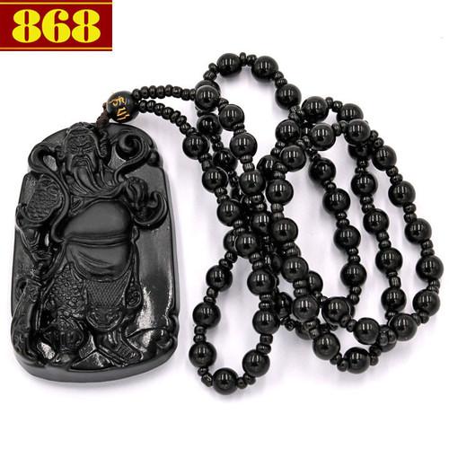 Vòng cổ tượng Quan công đá thạch anh đen QCCD14
