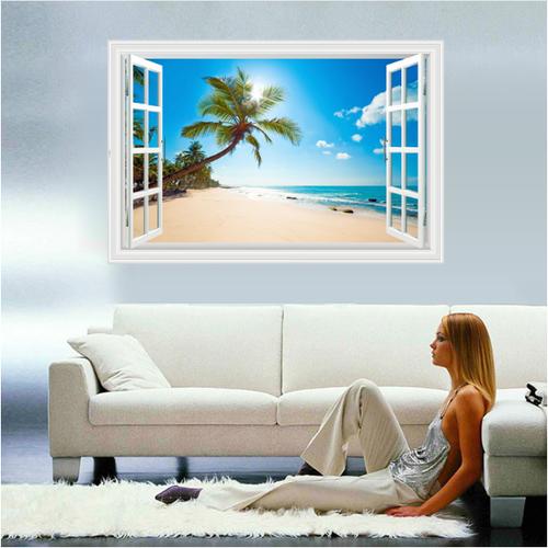 Decal trang trí khung cửa sổ 3d Cây Dừa nghiêng và biển xanh