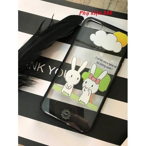 Ốp lưng nhựa cứng Iphone 7 hình 2 con thỏ hiệu Isen