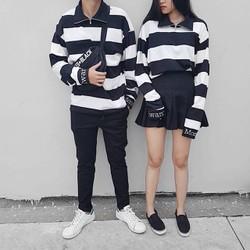 Áo sweater unisex sọc ngang