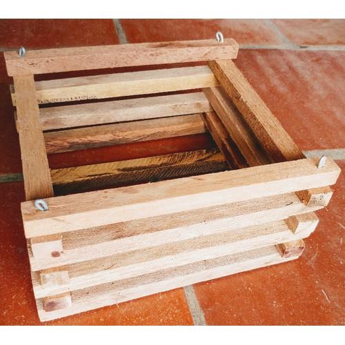 Giỏ gỗ vuông trồng Lan kèm móc treo 23x15cm