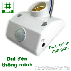Đui đèn E27 kèm cảm biến nhiệt chuyển động