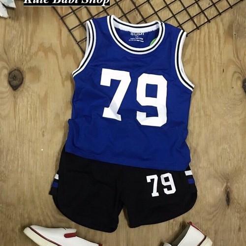 Bộ sát nách thể thao bé trai số 79 phong cách 8kg đến 38kg- Xanh-Nhí