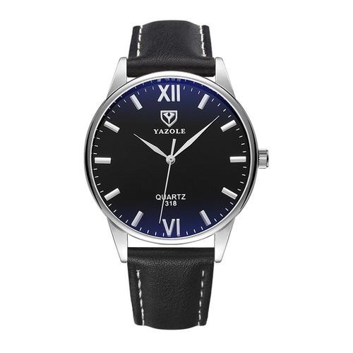 Đồng hồ nam YAZOLE 318 dây da tặng hộp cao cấp