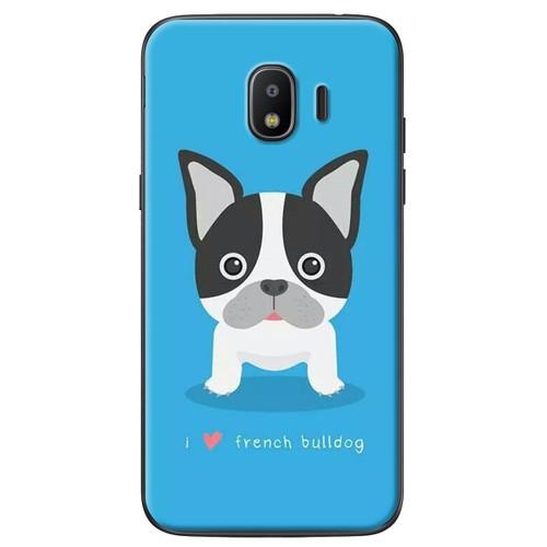 Ốp lưng nhựa dẻo Samsung J4 Chó bull nền xanh