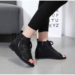 Giày boots hở mũi cột dây