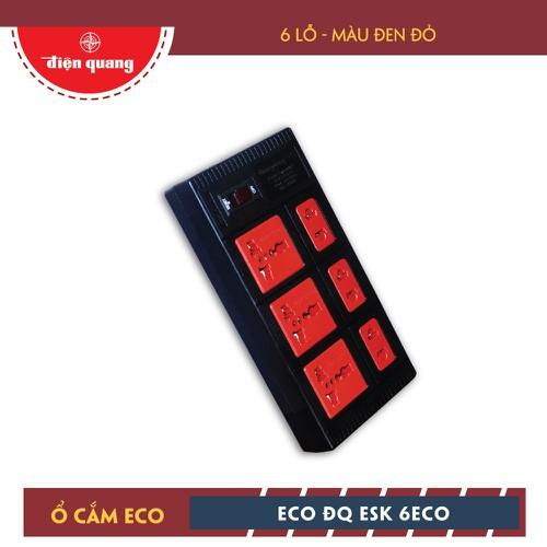 Ổ cắm Điện Quang dây 5m ECO ĐQ ESK 5BR 6ECO - 6 Lỗ, màu đen đỏ
