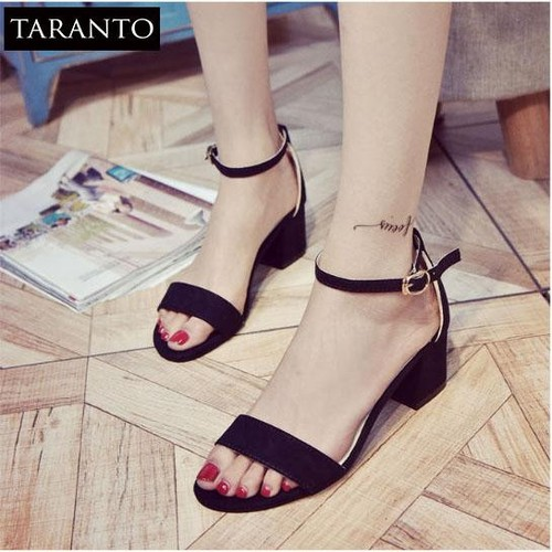 Giày cao gót nữ đế vuông phong cách hàn quốc TARANTO TRT-GCGNU-01