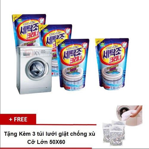 Combo 10 bịch Bột Tẩy Vệ Sinh Lồng Máy Giặt + 3 túi lưới giặt đồ