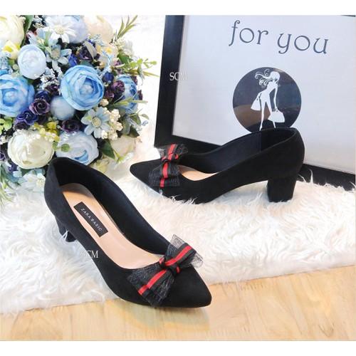 Giày gót vuông nơ sọc đỏ - 4476909 , 11414880 , 15_11414880 , 215000 , Giay-got-vuong-no-soc-do-15_11414880 , sendo.vn , Giày gót vuông nơ sọc đỏ