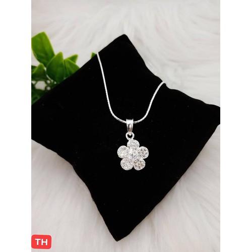 Vòng cổ bạc nữ mặt cánh hoa