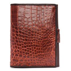 Ví Passport Huy Hoàng da cá sấu màu nâu đỏ EH9202