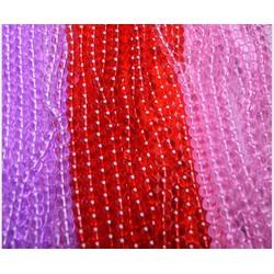 100g Hạt đá phong thủy 6MM có 3 màu đỏ-tím-hồng
