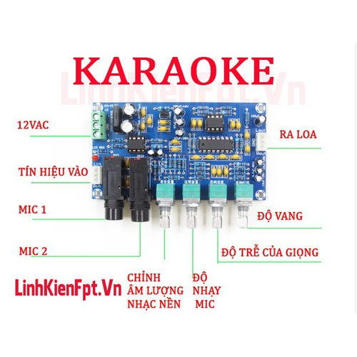 Linh kiện điện tử Mạch khuếch đại âm thanh Karaoke 2 MIC  XH-M173