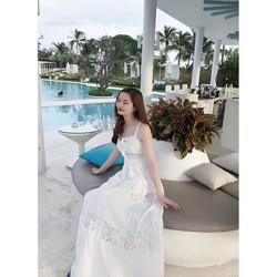 Đầm maxi trắng 2 dây viền ren