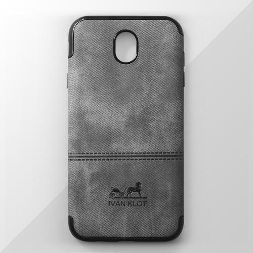 Ốp lưng dẻo Samsung Galaxy J7 Pro vân vải xám