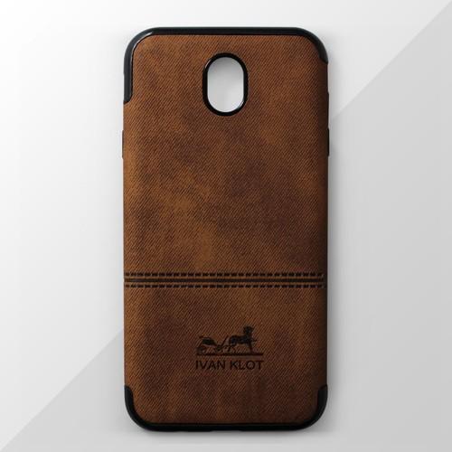 Ốp lưng dẻo Samsung Galaxy J7 Pro vân vải nâu