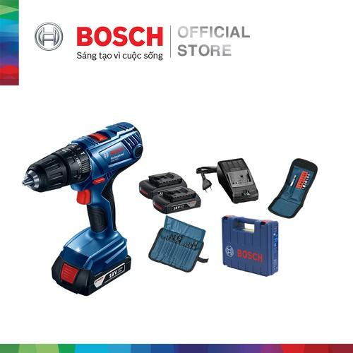 Máy khoan vặn vít dùng pin động lực Bosch GSB 180-LI + phụ kiện MỚI - Tặng Balo Bosch