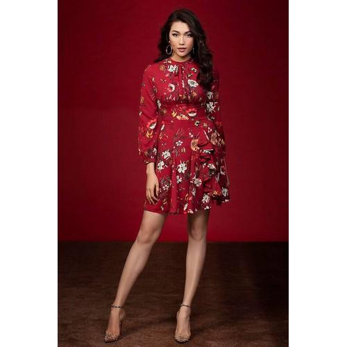 Đầm Hoa Đỏ Tay Dài Bèo Váy