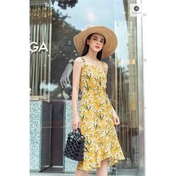De Leah - Đầm Midi Hoa Cuốn Bèo - Thời trang thiết kế