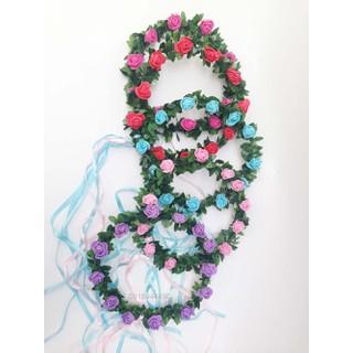 Vòng hoa đội đầu-Vòng nguyệt quế hoa hồng - NQ1001 thumbnail