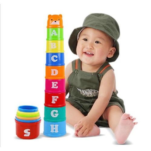 Tháp cầu vòng dạng số và chữ cho bé bằng nhựa