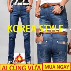 Quần jean nam big size ,Phong Cách Hàn Quốc,ống suông,wash,thanh niên