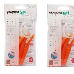 Bàn chải kẽ răng Okamura dạng L Size SS màu cam