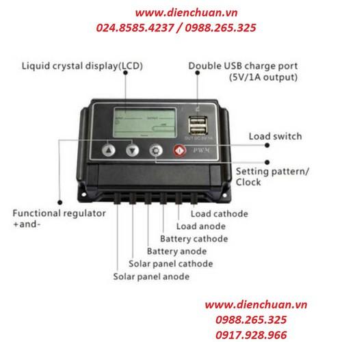 Bộ điều khiển sạc pin năng lượng mặt trời 10A 12V-24V Suoer ST-W1210