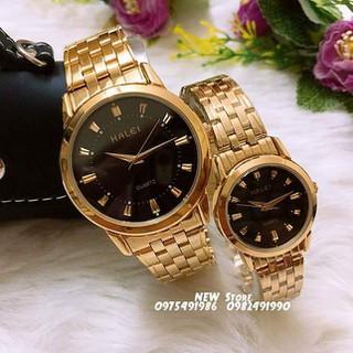 Đồng hồ cặp đôi dây thép Halei Gold black platium sang trọng, huyền bí - HL14 thumbnail