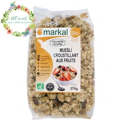 Ngũ cốc giòn trái cây hữu cơ Muesli Crunchy Markal 375g