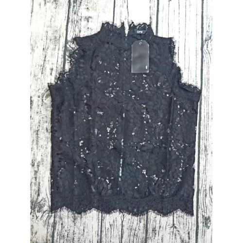Áo ren đen croptop khóa kéo