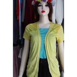 Áo khoác len kim- đuôi tôm- tay ngắn- pha ren