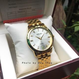 Đồng hồ cặp đôi dây thép Halei Gold platium sang trọng, huyền bí - HL15 2
