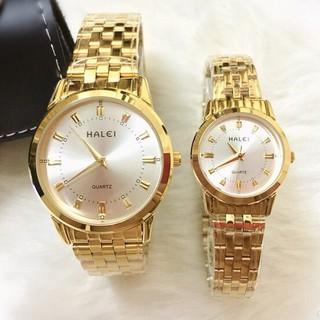 Đồng hồ cặp đôi dây thép Halei Gold platium sang trọng, huyền bí - HL15 1