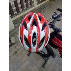 Mũ Bảo Hiểm Xe Đạp Thể Thao - Màu đỏ trắng