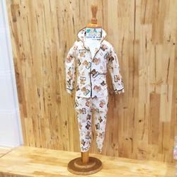 Bộ Pijama Dài Tay Cho Bé 7-18kg | Bộ kaki thô xuất Hàn